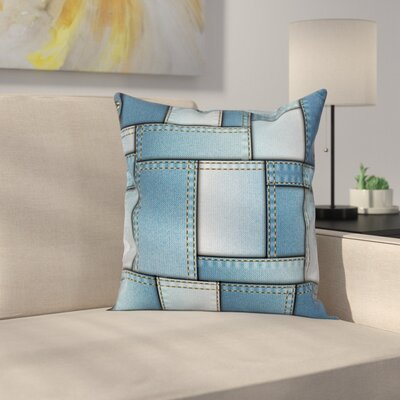 Denim Patchwork Pattern Square Pillow Cover Size: 16 x 16