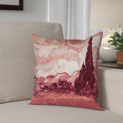 Lapine Wheatfield with Cypresses Outdoor Throw Pillow Color: Red, Size: 18 x 18