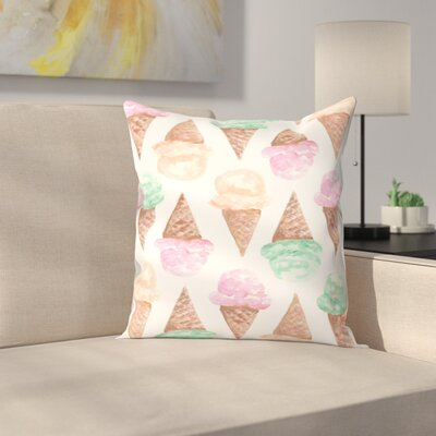 Jetty Printables Watercolor Ice Cream Cone Throw Pillow Size: 20 x 20