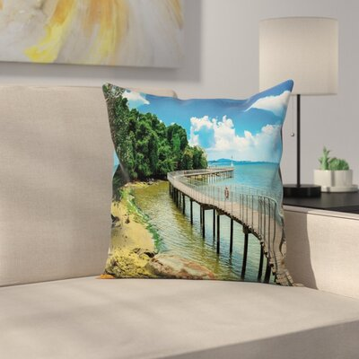 Coastal Boardwalk Sandy Shore Square Pillow Cover Size: 18