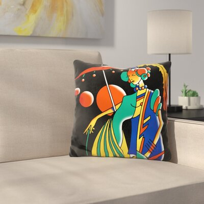 Art Deco Lady Throw Pillow Color: Black/Green
