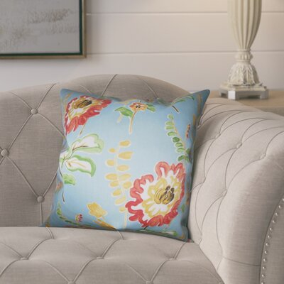 Elissa Floral Cotton Throw Pillow Color: Light Blue, Size: 18 x 18