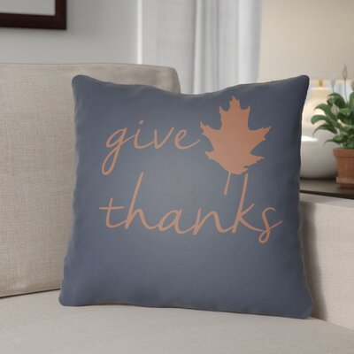 Thanksgiving Indoor/Outdoor Throw Pillow Size: 18 H x 18 W x 4 D, Color: Navy/Orange
