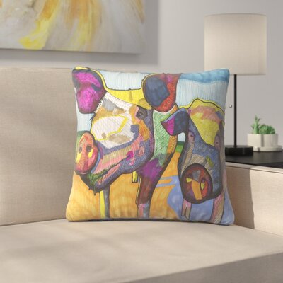 Two Pigs Hildi and Mabel Throw Pillow Size: 14 x 14