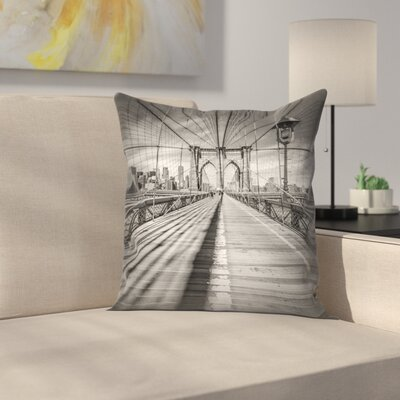 Brooklyn Bridge New York City Throw Pillow Size: 18 x 18