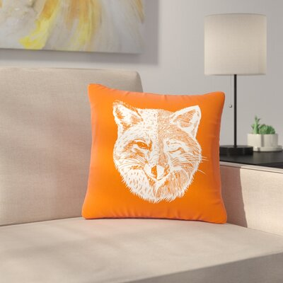 BarmalisiRTB Fox face Digital Outdoor Throw Pillow Size: 16 H x 16 W x 5 D