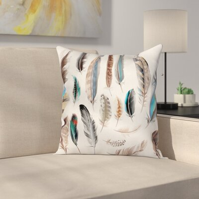 Animal Case Bird Body Feathers Set Square Pillow Cover Size: 20 x 20