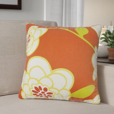 Parkstone Floral Cotton Throw Pillow Color: Geranium, Size: 18 x 18