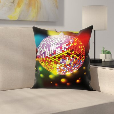 Vivid Disco Ball Square Pillow Cover Size: 18 x 18
