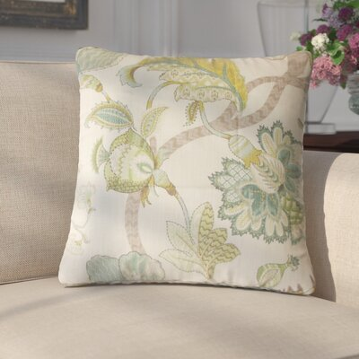 Edlin Floral Cotton Throw Pillow Color: Aqua Green