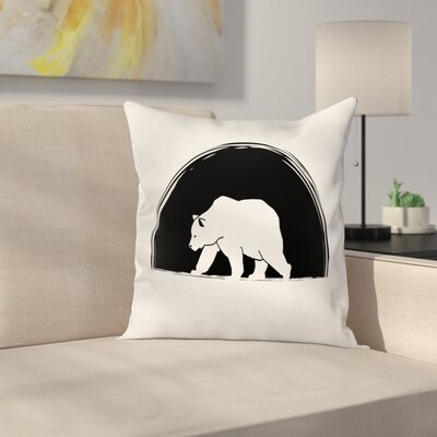 Big Polar Bear Walking Cushion Pillow Cover Size: 18 x 18
