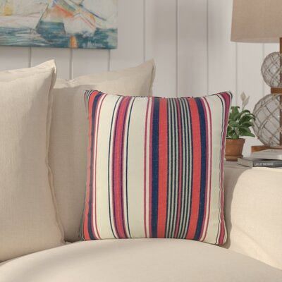 Brahms Striped Cotton Throw Pillow Color: Red/Navy
