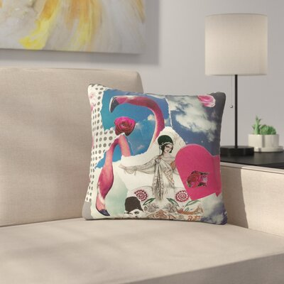 Jina Ninjjaga Flamingo Attack Pop Art Outdoor Throw Pillow Size: 18