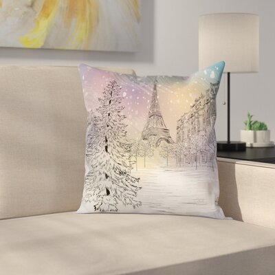 Eiffel Winter Day at Paris Square Pillow Cover Size: 24 x 24