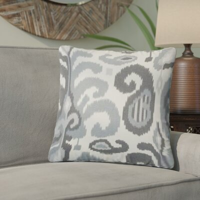 Arlie Ikat Cotton Throw Pillow Color: Steel