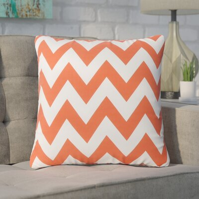 Swigart Square Indoor/Outdoor Throw Pillow Color: Orange/White