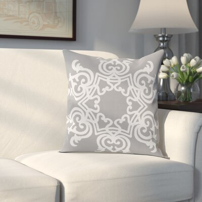 Poestenkill Floral Motif Throw Pillow Size: 20 H x 20 W, Color: Grey