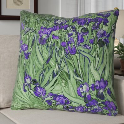 Morley Irises Euro Pillow Color: Green/Purple