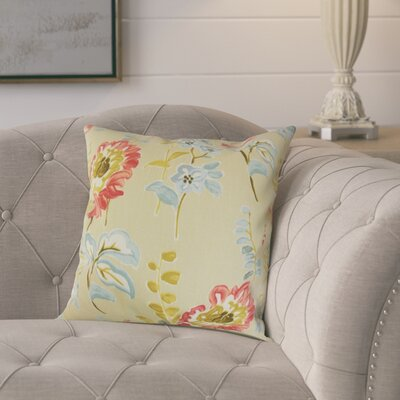 Elissa Floral Cotton Throw Pillow Color: Natural, Size: 18 x 18