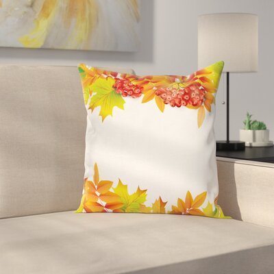 Autumn Branches Border Square Pillow Cover Size: 16 x 16