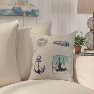 Crider Sea Tools Print Indoor/Outdoor Throw Pillow Color: Ivory, Size: 16 x 16