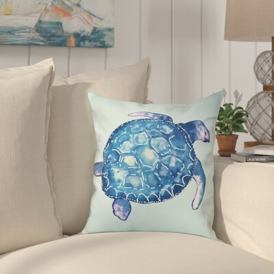 Granata Sea Turtle Animal Print Throw Pillow Size: 26 H x 26 W, Color: Aqua