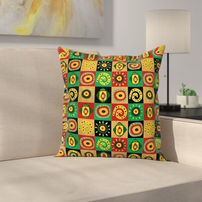 Tribal Trippy Figures Cushion Pillow Cover Size: 24 x 24