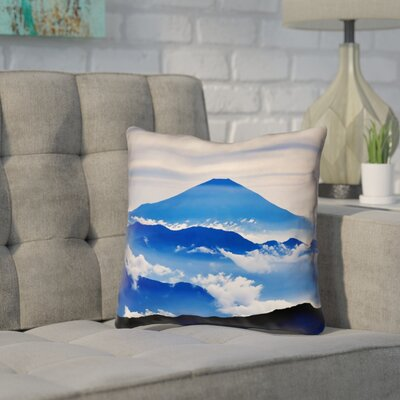 Enciso Fuji Pillow Cover Size: 14 H x 14 W, Color: Blue
