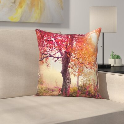 Fall Decor Flowers Park Nature Square Pillow Cover Size: 24 x 24