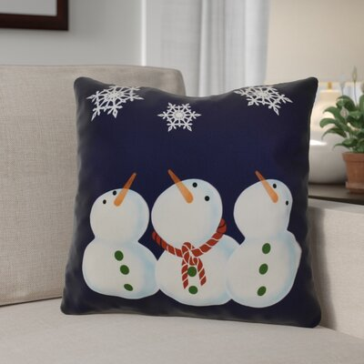 Decorative Snowman Print Outdoor Throw Pillow Size: 16 H x 16 W, Color: Navy Blue