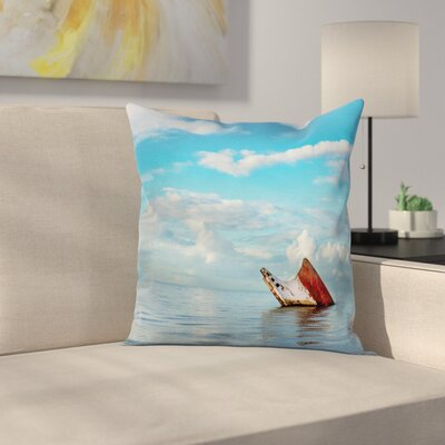 Nautical Ship Wreck Landscape Square Pillow Cover Size: 18 x 18