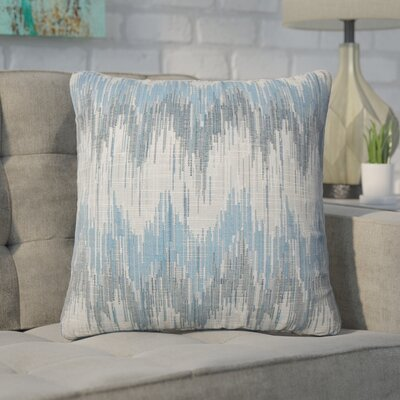 Wiegand Ikat Down Filled Throw Pillow Size: 18 x 18, Color: Natural Blue