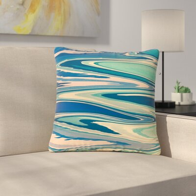 Nika Martinez Beach Waves Abstract Outdoor Throw Pillow Color: Pink, Size: 16 H x 16 W x 5 D