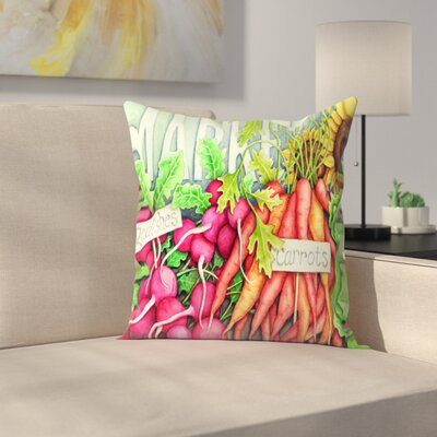 Market Throw Pillow Color: Red/Eggplant/Light Green, Size: 14 x 14