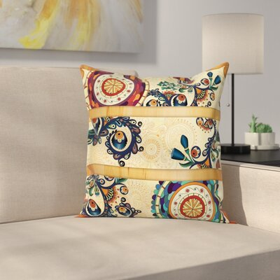 Paisley Decor Eastern Batik Square Pillow Cover Size: 16 x 16