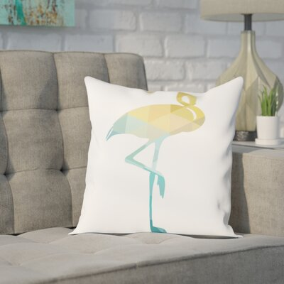 Melinda Wood Flamingo Throw Pillow Size: 20 H x 20 W x 2 D, Color: Blue Yellow