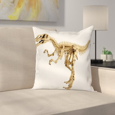 Dinosaur Fossil Dino Skeleton Square Cushion Pillow Cover Size: 18 x 18