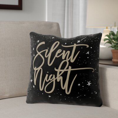 Silent Night Outdoor Throw Pillow Color: Black/ Gold, Size: 16 x 16