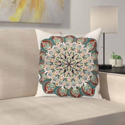 Fabric Ethnic Mandala Asian Square Pillow Cover Size: 24 x 24