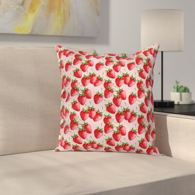 Strawberries Pillow Cover Size: 18 x 18