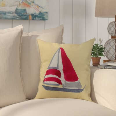 Harriet Sail Away Throw Pillow Color: Yellow, Size: 26 x 26