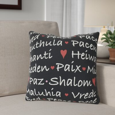 Words of Peace Outdoor Throw Pillow Size: 18 H x 18 W, Color: Black