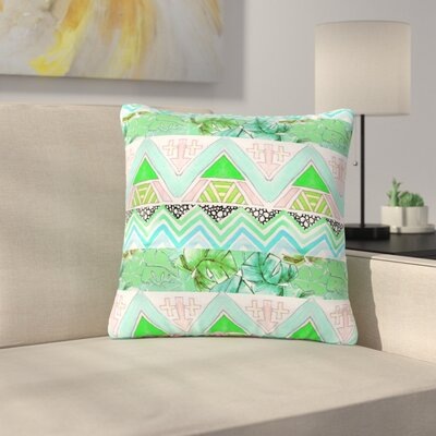 Danii Pollehn Tropicalstripes Floral Outdoor Throw Pillow Size: 18 H x 18 W x 5 D