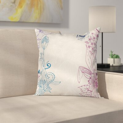 Flower Field Spring Art Square Pillow Cover Size: 18 x 18