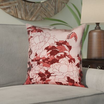 Clair Peonies and Butterfly Square Pillow Cover Size: 16 H x 16 W, Color: Red