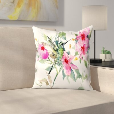 Suren Nersisyan Hibuscus and Hummingbird Throw Pillow Size: 18 x 18