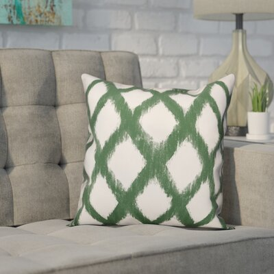 Worden Diamond Throw Pillow Color: Green, Size: 16 x 16, Type: Pillow Cover