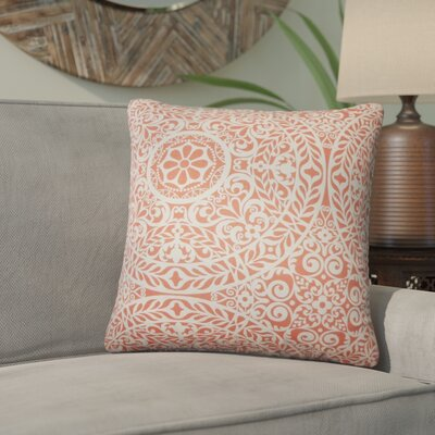 Meador Damask Cotton Throw Pillow Color: Mango