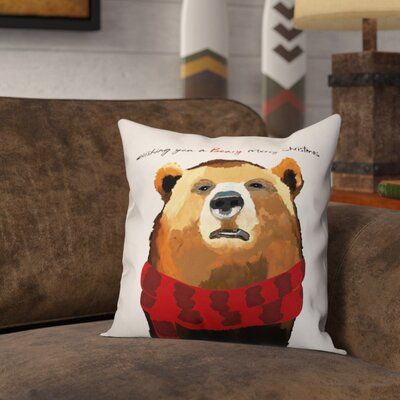 Gabin Beary Merry Christmas Throw Pillow Type: Pillow Cover
