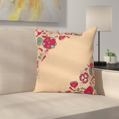 Flowers and Polka Dots Square Pillow Cover Size: 18 x 18